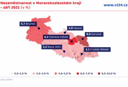 Nezaměstnanost v Moravskoslezském kraji se v září snížila na 5,3 procenta